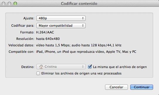 Codificar vídeos desde Finder con Mountain Lion
