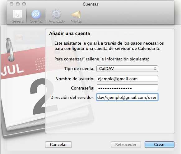 Calendario de Gmail en Mail (Mac). Clases de Mac.