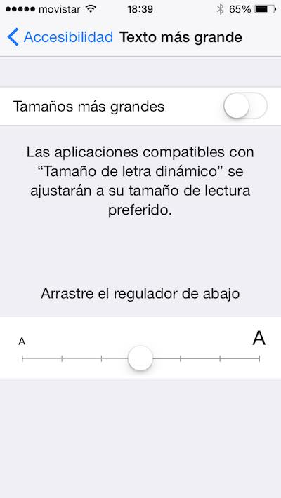 Modificar el tamaño de la letra en el iPhone