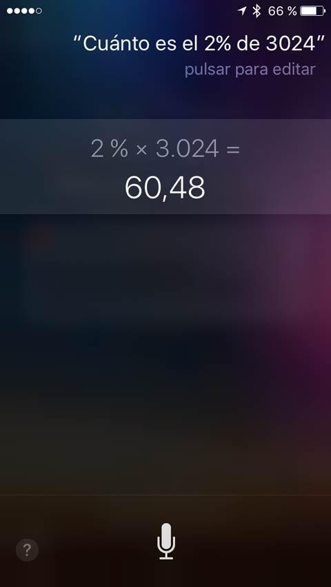 Pide a Siri que haga el cálculo por ti