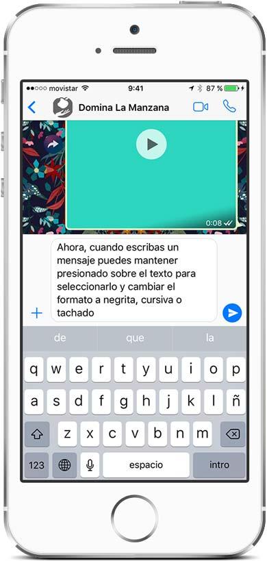 Negrita, cursiva y tachado con WhatsApp en un iPhone